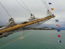 The bow of sailing ship against the sea and coast Stock Photo