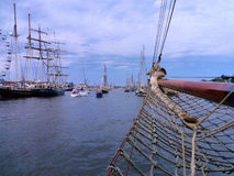 Bow of a sailing ship. During the Hanse Sail in Rostock, Northern Germany Royalty Free Stock Photos