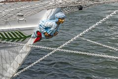 The bow of a sailing ship stock photo