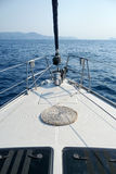 On the bow of a sailing yacht Royalty Free Stock Photography