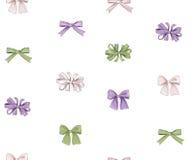 Bow seamless pattern. Girlish fashion white background. Holiday gift ornament Royalty Free Stock Photo