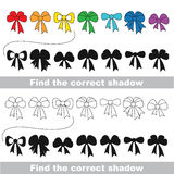 Bow set. Find correct shadow. Royalty Free Stock Photos