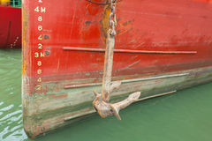Bow of a ship with draft scale numbering. The bow of a ship with draft scale numbering Stock Photography