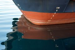 Bow of a ship with draft scale numbering stock photos