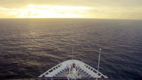 Bow of ship at sea. Going toward sunset stock video