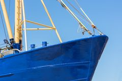 Bow shrimp fishing ship in Dutch harbor Lauwersoog stock photography
