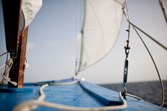 The bow of a small skiff. In Caribbean waters Stock Image