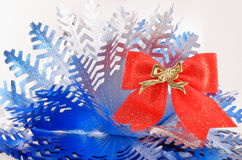 Bow and snowflake Stock Photos