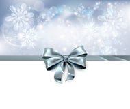 Bow and Snowflakes Christmas Background Stock Photo