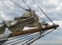 Bow Sprint. The bow sprint of a sailboat with its sails furled Royalty Free Stock Image