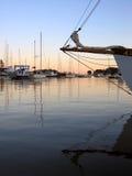 Bow sprit. Bow of yacht at dusk Stock Photos