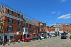 Bow Street, Portsmouth, New Hampshire, USA. Bow Street is an 18th-century commercial path connect waterfront area in downtown Portsmouth, New Hampshire, USA Stock Images