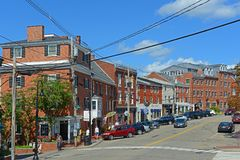Bow Street, Portsmouth, New Hampshire, USA. Bow Street is an 18th-century commercial path connect waterfront area in downtown Portsmouth, New Hampshire, USA Royalty Free Stock Images