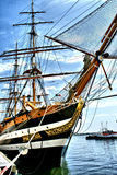 The bow of a `Tall Ships`with Mast and Rigging Reaching For Sky. This is the mast, crows nest, and rigging of a `Tall Ship` stretching toward the sky royalty free stock images