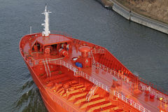Bow of a tanker. On Kiel Canal, Germany Stock Photography