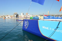 The Bow Of Team Vestas Wind - Volvo Ocean Race Unusual Angle Royalty Free Stock Photography