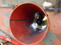 Bow thruster. Fit up bow thruster on ship Royalty Free Stock Photo