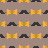 Bow tie background fashion mustache retro hair style seamless pattern bowtie accessory elegant knot vector illustration Stock Photo