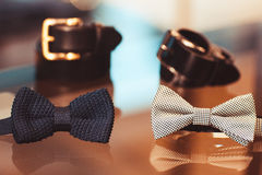 Bow tie and belt in shop Stock Image