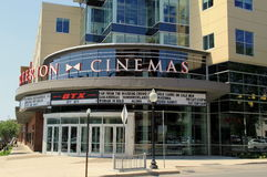 Bow Tie Criterion Cinemas and list of movies being shown there, downtown Saratoga Springs,New York,2015. List of movies showing on the marque of Bow Tie Royalty Free Stock Image
