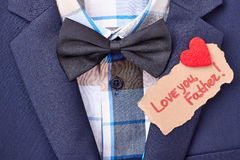Bow tie and greeting card. Royalty Free Stock Image
