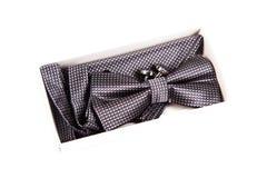 Bow tie, handkerchief and cufflinks. Wedding Stock Image