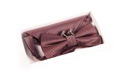 Bow tie, handkerchief and cufflinks. Wedding Stock Photo