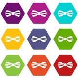 Bow tie icon set color hexahedron Royalty Free Stock Images