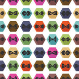Bow Tie Icons Seamless Pattern. Cartoon Colorful Stock Photos