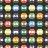 Bow tie icons seamless pattern. Cartoon colorful Royalty Free Stock Photo