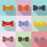 Bow tie icons set, flat style stock illustration