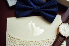 Bow tie,Invitation card,clock,the groom morning,businessman, wed Stock Photography