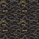 Bow Tie and Moustache Seamless Pattern. Vector illustration Royalty Free Stock Image