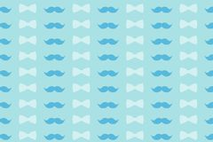 Colorful pattern in gently blue tones - mustache and bow tie for design, wallpaper and decor. royalty free stock photography