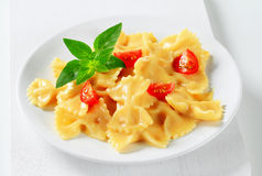 Bow tie pasta with cream sauce Stock Photography