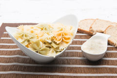 Bow tie pasta with pesto Royalty Free Stock Images