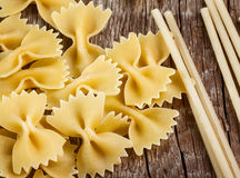 Bow tie pasta and spaghetti Stock Images