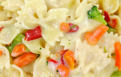 Bow tie pasta with vegetables in sauce Stock Photo