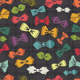 Bow tie seamless pattern.Tartan background.Vector Stock Images