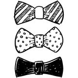 Bow tie selection sketch. Doodle style bow tie men's clothing assortment in vector format Stock Photo
