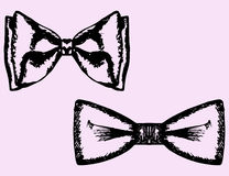 Bow tie set. Bow tie doodle style, sketch, vector set hand drawn royalty free illustration