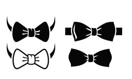 Bow tie set. Vector black bow tie on white background Royalty Free Stock Image