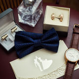 Bow tie, wedding rings in box,clock,parfumes,cufflinks,Invitatio Royalty Free Stock Photo