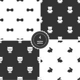 Bow Ties, Teddy Bears, Hipster Cats and Bunnies. Set of Black and White Seamless Patterns Royalty Free Stock Images