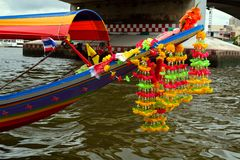 Longtail speedboat. The bow of the touristic  longtail speed boat is traditionally decorated with bright flower garlands. Chao Phraya river. Bangkok. Thailand stock image