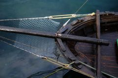 Bow of a traditional boat. Detail of the bow of a small and rustic fishing boat royalty free stock images