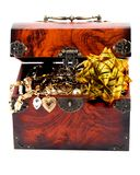 Bow in Treasure chest Royalty Free Stock Photos