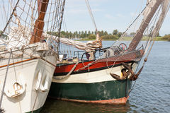 Bow of two schooners in Dutch harbor Kampen Royalty Free Stock Image