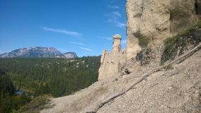 Bow valley banff  mountain hoodoo. Wet land brook fishing mountain stream valley bow river mountain path forest way river valley hoodoo hoodoos clay natural form Royalty Free Stock Photos