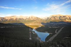 Bow valley and mountains royalty free stock photo